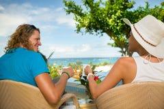 Happy romantic couple enjoying at beautiful terrace Stock Photo