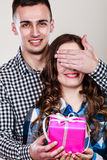 Happy romantic couple with gift Stock Photo
