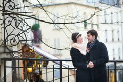 Happy romantic couple having a date on Montmartre Stock Images