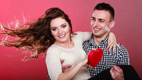 Happy romantic couple with heart Royalty Free Stock Photography
