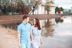 Happy romantic couple in love and having fun at the lake outdoor in summer day, beauty of nature, Stock Photos