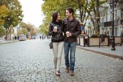 Happy romantic couple outdoors Stock Photos