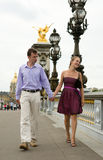 Happy romantic couple in Paris Stock Photos