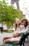 Happy romantic couple in Paris Stock Image