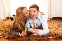 Happy Romantic couple on Rug Royalty Free Stock Photos