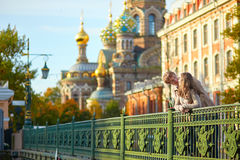 Happy romantic couple together in St. Petersburg Royalty Free Stock Images
