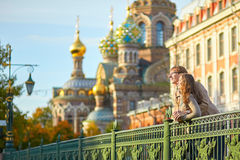 Happy romantic couple together in St. Petersburg Stock Photography