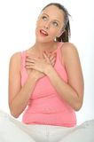 Happy Romantic Loved Up Dreamy Young Woman Portrait Royalty Free Stock Photos