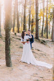 Happy romantic newly married couple holding each other in the autumn pine forest Royalty Free Stock Photos