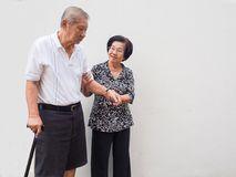 Happy romantic senior asian couple take care of each other. How long has it been.The Love has never been changed. Concept of senior couple and take care of stock images