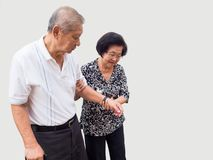 Happy romantic senior asian couple take care of each other. How long has it been.The Love has never been changed. Concept of senior couple and take care of stock image