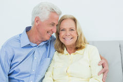 Happy romantic senior couple at house Stock Photo