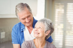 Happy romantic senior couple looking at each other Stock Photography