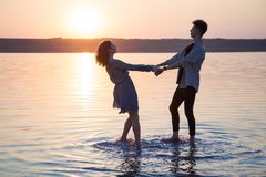 Happy romantic young beautiful couple. stock images