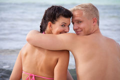 Happy romantic young couple Stock Photos
