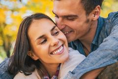 Romantic young couple outdoors in autumn Stock Photography