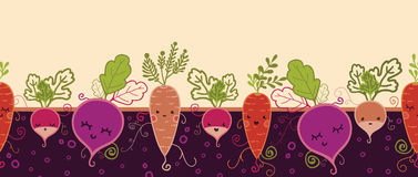 Happy root vegetables horizontal seamless pattern Royalty Free Stock Image
