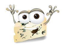 Happy Roquefort, Gorgonzola or Stilton vector cheese cartoon character laughing, cute and funny dairy product character Stock Photography