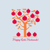 Happy Rosh Hashana. Rosh Hashanah Jewish New Year concept. Traditional holiday symbols. Cute bright pomegranate. Template for greeting card. Design idea with Royalty Free Stock Images