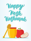 Happy Rosh Hashanah. With apples and honey bee Royalty Free Stock Images