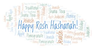 Happy Rosh Hashanah word cloud. Wordcloud made with text only vector illustration