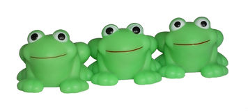 Happy rubber frogs. For kids Stock Photography