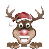 Happy Rudolph with Christmas Hat Royalty Free Stock Photos