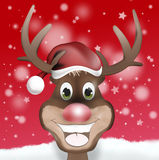 Happy Rudolph with Christmas Hat Royalty Free Stock Photography