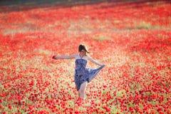 Happy run on field Royalty Free Stock Image
