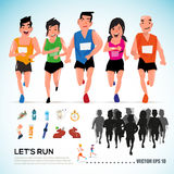 Happy runner group with running kit elements and silhouette. cha. Racter design. info graphic. let's run concept-  illustration Royalty Free Stock Photography