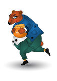 Happy running bear with honey pot Royalty Free Stock Photography