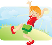 The happy running boy. On the nature. Against the blue sky, the sun, a lawn and birds Royalty Free Stock Image