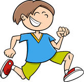 Happy running boy cartoon Stock Photos