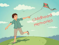 Happy running boy with a kite. Childhood memories. Happy boy with a kite running on summer field Stock Photos