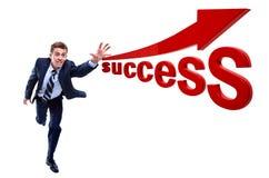 Happy running businessman. Royalty Free Stock Photos