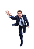 Happy running businessman. Royalty Free Stock Photography