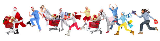 Happy running Christmas people. stock photo