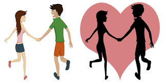 Happy running couple (spring). Colorful and detailed cartoon-style art with a smiling and glad young couple is holding hands while running together - silhoutette Royalty Free Stock Images
