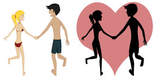 Happy running couple (summertime). Colorful and detailed cartoon-style art with a smiling and glad young couple is holding hands while running together in Royalty Free Stock Photography