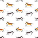Happy running dogs seamless pattern. Many happy running dogs. Vector line seamless pattern color on white background stock illustration