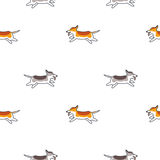 Happy running dogs seamless pattern. Happy running dogs. Vector line seamless pattern color on white background vector illustration