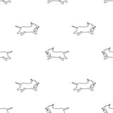 Happy running dogs seamless pattern. Happy running dogs. Welsh corgi breed. Dog adoption concept. Vector line seamless pattern black on white background vector illustration