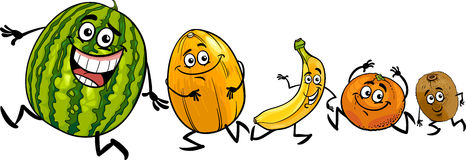 Happy running fruits cartoon illustration Royalty Free Stock Image