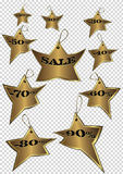 Happy running golden stars discount vector tags Stock Photo