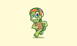 Happy running turtle. He have unique behavior, he does not walking slowly, he running fast royalty free illustration