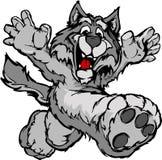 Happy Running Wolf or Coyote Mascot Stock Photo