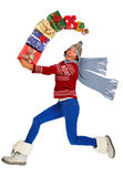 Happy running Woman with Xmas gifts Stock Photography