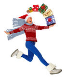 Happy running Woman with Xmas gifts Royalty Free Stock Photos