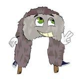 Happy russian fur hat cartoon Royalty Free Stock Image
