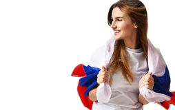 Happy russian soccer fan with national flag shouting celebrating or yelling Royalty Free Stock Photos